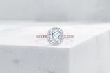 Vow Vow Engagement Rings Antique-Style Cushion / 14K Rose Gold + Platinum Prongs / Original Design Delancey