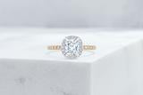 Vow Vow Engagement Rings Antique-Style Cushion / 14K Yellow Gold + Platinum Prongs / Original Design Delancey