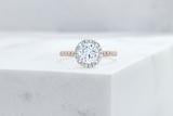 Vow Vow Engagement Rings Antique-Style Round / 14K Rose Gold + Platinum Prongs / Original Design Delancey