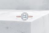 Vow Vow Engagement Rings Cushion / 14K Rose Gold + Platinum Prongs / Original Design Delancey