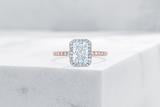 Vow Vow Engagement Rings Radiant / 14K Rose Gold + Platinum Prongs / Original Design Delancey
