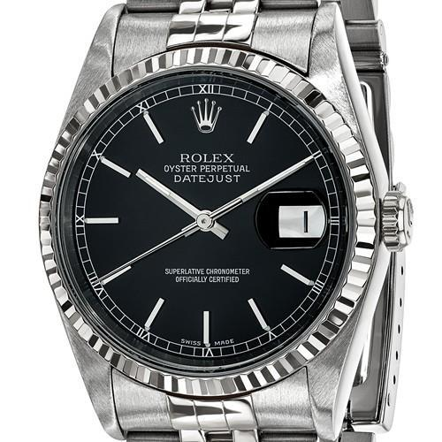 Datejust - 36 mm, Oystersteel & 18K White Gold, Black Dial (Certified Pre-Owned) - Ring Concierge
