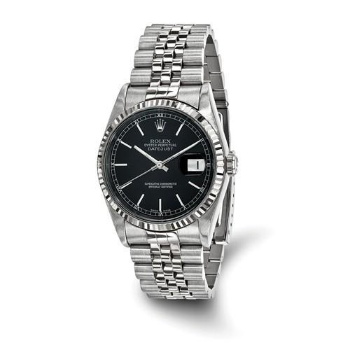 Rolex Datejust - 36 mm, Oystersteel & 18K White Gold, Black Dial (Pre-Owned) - Ring Concierge