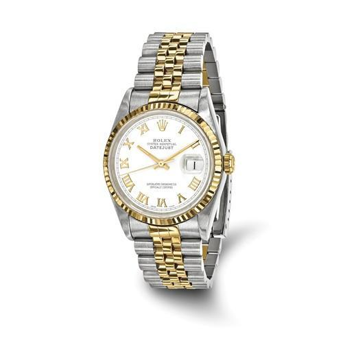 Datejust - 36 mm, Oystersteel & 18K Yellow Gold, White Dial (Pre-Owned) - Ring Concierge