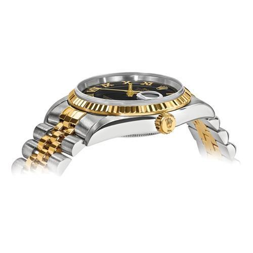 Rolex Datejust - 36 mm, Oystersteel & 18K Yellow Gold, Black Dial (Pre-Owned) - Ring Concierge