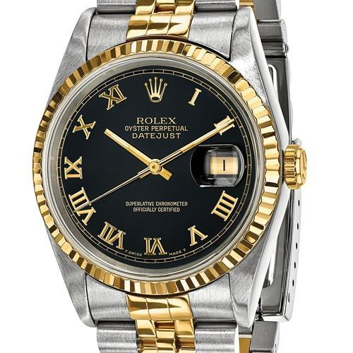 Datejust - 36 mm, Oystersteel & 18K Yellow Gold, Black Dial (Pre-Owned) - Ring Concierge