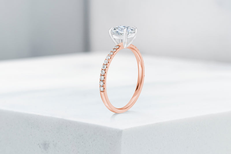Lexington VOW by Ring Concierge antique-style cushion micropave engagement ring in rose gold. 33281434648664