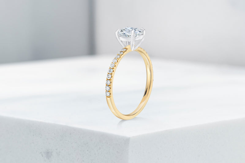 Lexington VOW by Ring Concierge antique-style cushion micropave engagement ring in yellow gold. 33281434583128