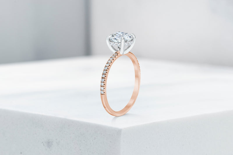 Lexington VOW by Ring Concierge antique-style round micropave engagement ring with hidden halo in rose gold. 33281434484824