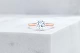 Vow Vow Engagement Rings Antique-Style Round / 14K Rose Gold + Platinum Prongs / Original Design Lenox