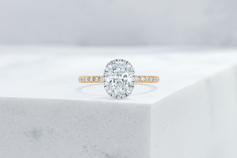 Delancey VOW by Ring Concierge oval halo micropave engagement ring in yellow gold. 33281357283416