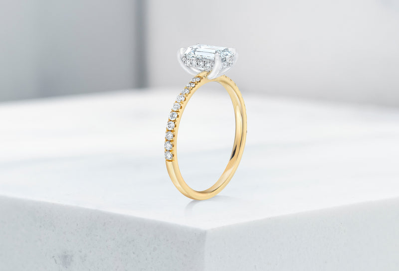 Lexington VOW by Ring Concierge emerald micropave engagement ring with hidden halo in yellow gold. 33281433829464