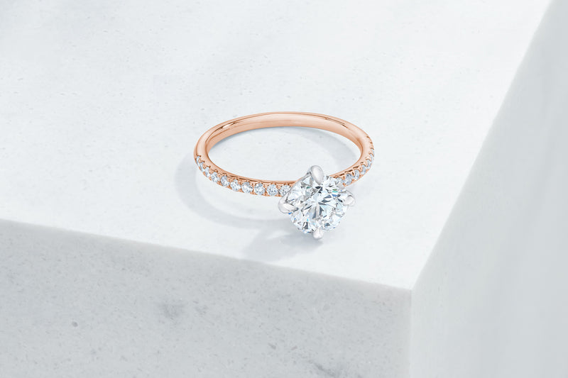 Lafayette VOW by Ring Concierge round north south east west prongs micropave engagement ring in rose gold. 33281382285400