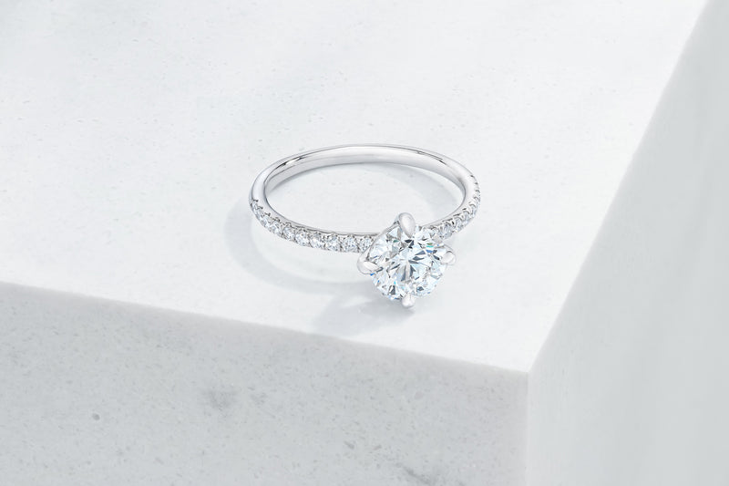 Lafayette VOW by Ring Concierge round north south east west prongs micropave engagement ring in platinum. 33281382318168