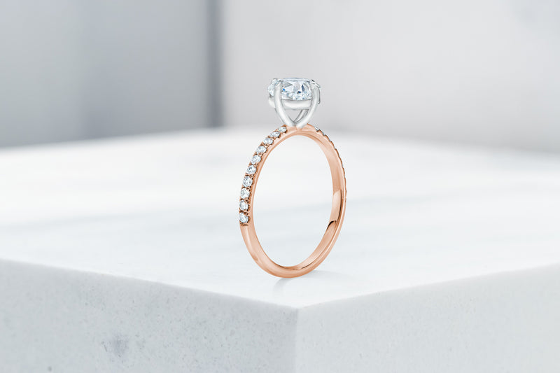 Lafayette VOW by Ring Concierge cushion north south east west micropave engagement ring in rose gold. 33281382383704