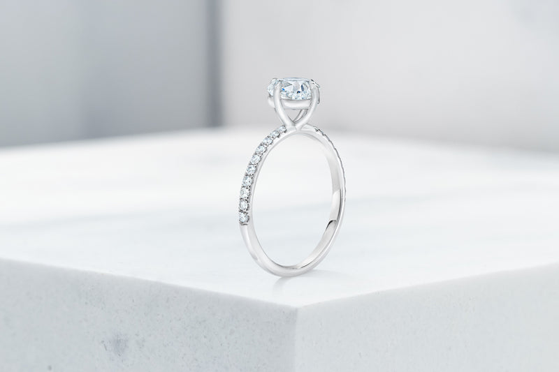 Lafayette VOW by Ring Concierge cushion north south east west micropave engagement ring in platinum. 33281382416472