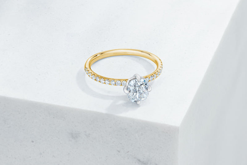 Lafayette VOW by Ring Concierge cushion north south east west micropave engagement ring in yellow gold. 33281382350936