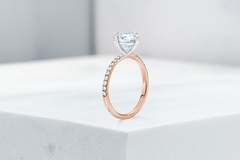 Lafayette VOW by Ring Concierge antique-style round north south east west micropave engagement ring in rose gold. 33281382482008