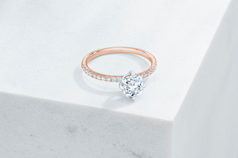 Lafayette VOW by Ring Concierge antique-style cushion north south east west micropave engagement ring in rose gold. 33281382580312