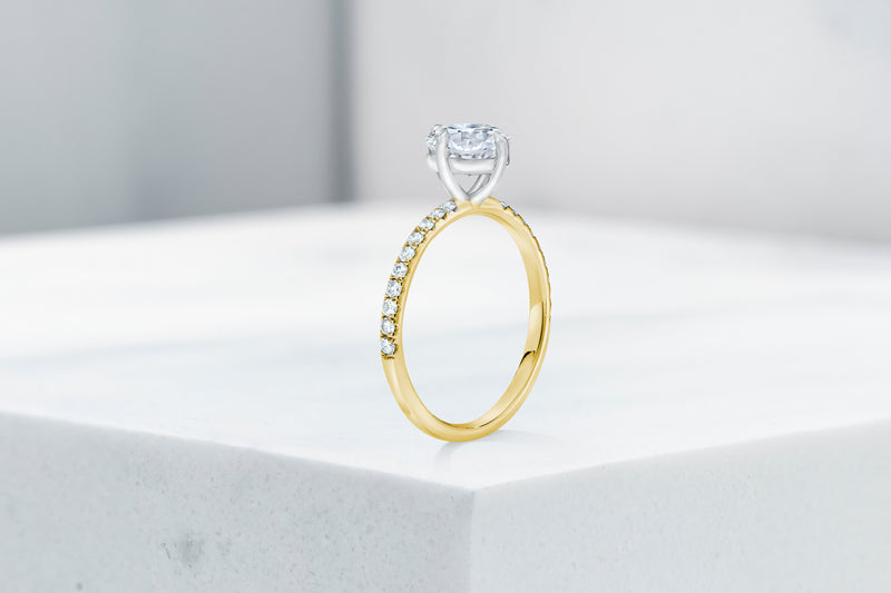 Lafayette VOW by Ring Concierge antique-style cushion north south east west micropave engagement ring in yellow gold. 33281382547544