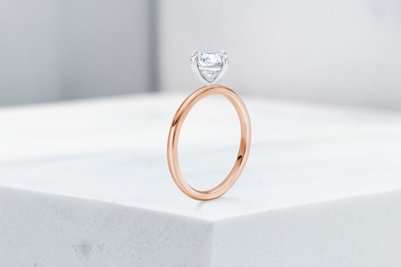 Lenox VOW by Ring Concierge round north south east west solitaire engagement ring in rose gold. 33281398931544