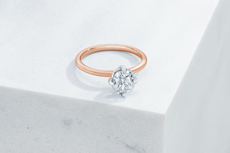 Lenox VOW by Ring Concierge cushion north south east west prong solitaire engagement ring in rose gold. 33281399029848