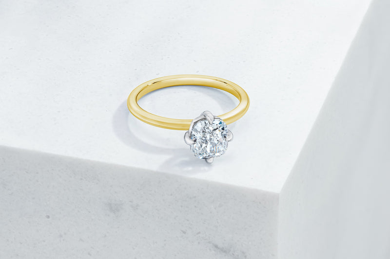 Lenox VOW by Ring Concierge cushion north south east west prongs solitaire engagement ring in yellow gold. 33281398997080