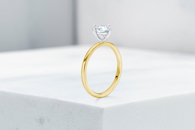Lenox VOW by Ring Concierge antique-style round north south east west prong  solitaire engagement ring in yellow gold. 33281399095384