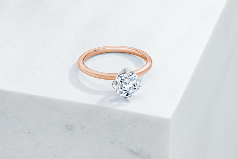 Lenox VOW by Ring Concierge antique-style cushion north south east west solitaire engagement ring in rose gold. 33281399226456