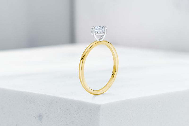 Lenox VOW by Ring Concierge antique-style cushion north south east west  solitaire engagement ring in yellow gold. 33281399193688
