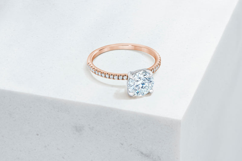 Lexington VOW by Ring Concierge round micropave engagement ring in rose gold. 33281433272408