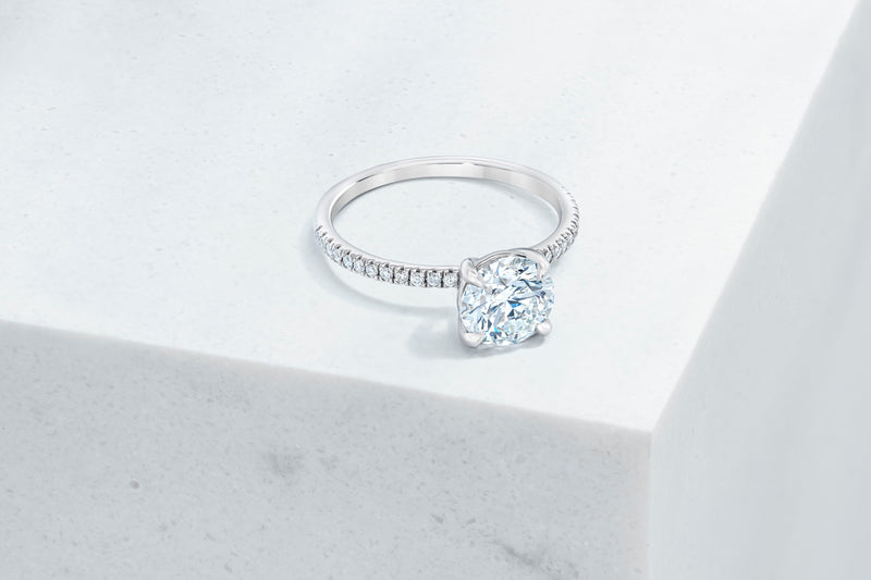 Lexington VOW by Ring Concierge round micropave engagement ring in platinum. 33281433337944