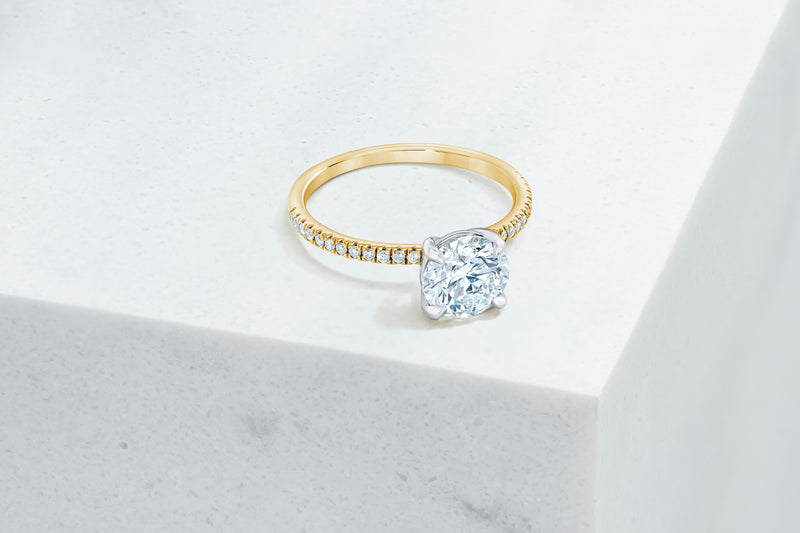 Lexington VOW by Ring Concierge round micropave engagement ring in yellow gold. 33281433206872