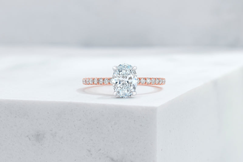 Lexington VOW by Ring Concierge oval micropave engagement ring in rose gold. 33281433469016