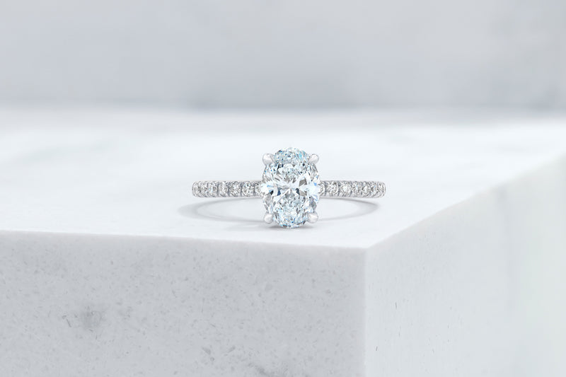 Lexington VOW by Ring Concierge oval micropave engagement ring in platinum. 33281433534552