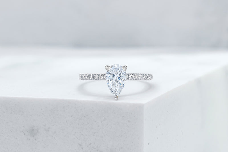 Lexington VOW by Ring Concierge pear shaped micropave engagement ring in platinum. 33281434320984