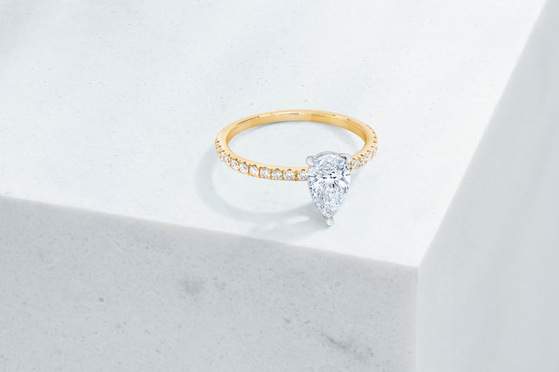 Lexington VOW by Ring Concierge pear shaped micropave engagement ring in yellow gold. 33281434189912
