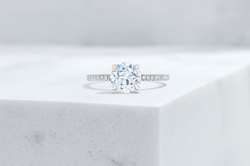 Lexington VOW by Ring Concierge antique-style round micropave engagement ring in platinum. 33281434517592