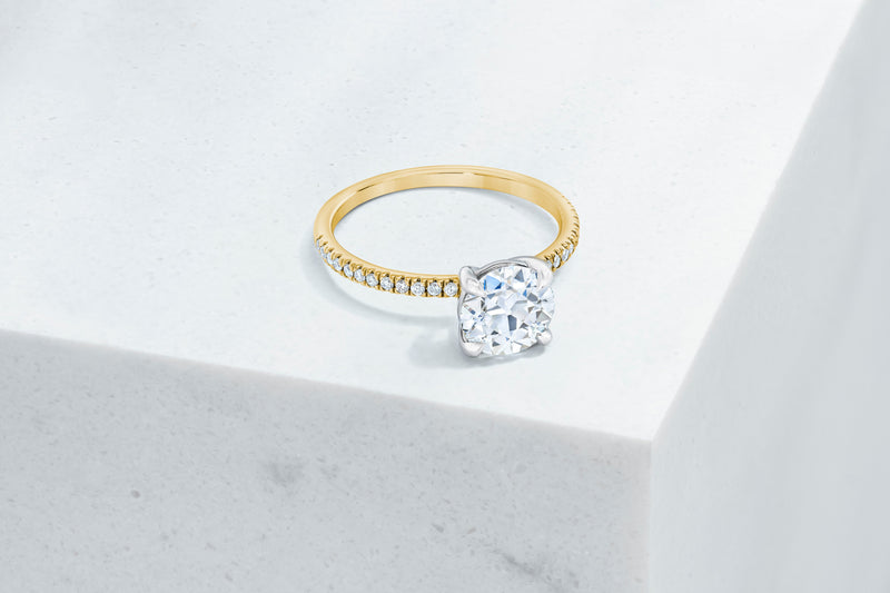 Lexington VOW by Ring Concierge antique-style round micropave engagement ring in yellow gold. 33281434386520