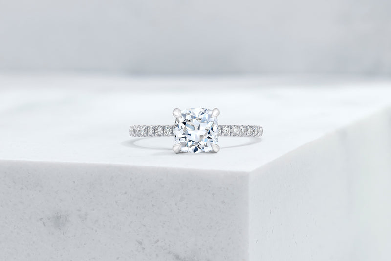 Lexington VOW by Ring Concierge antique-style cushion micropave engagement ring in platinum. 33281434714200