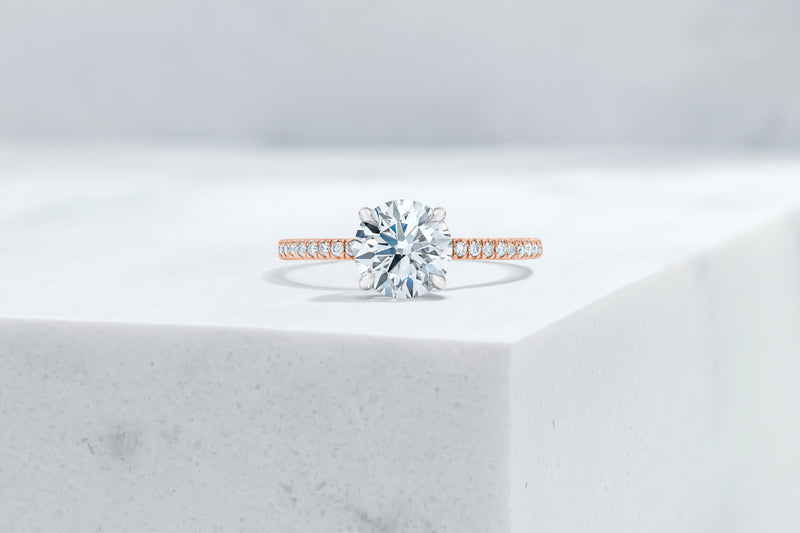 Lexington VOW by Ring Concierge round micropave engagement ring with hidden halo in rose gold. 33281433305176