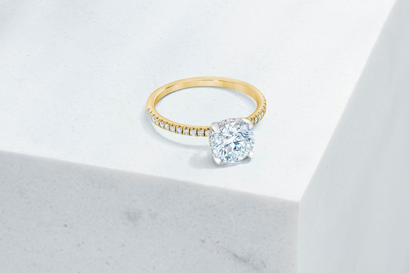Lexington VOW by Ring Concierge round micropave engagement ring with hidden halo in yellow gold. 33281433239640