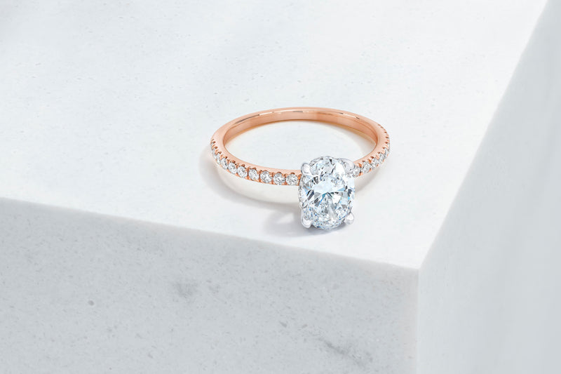 Lexington VOW by Ring Concierge oval micropave engagement ring with hidden halo in rose gold. 33281433501784