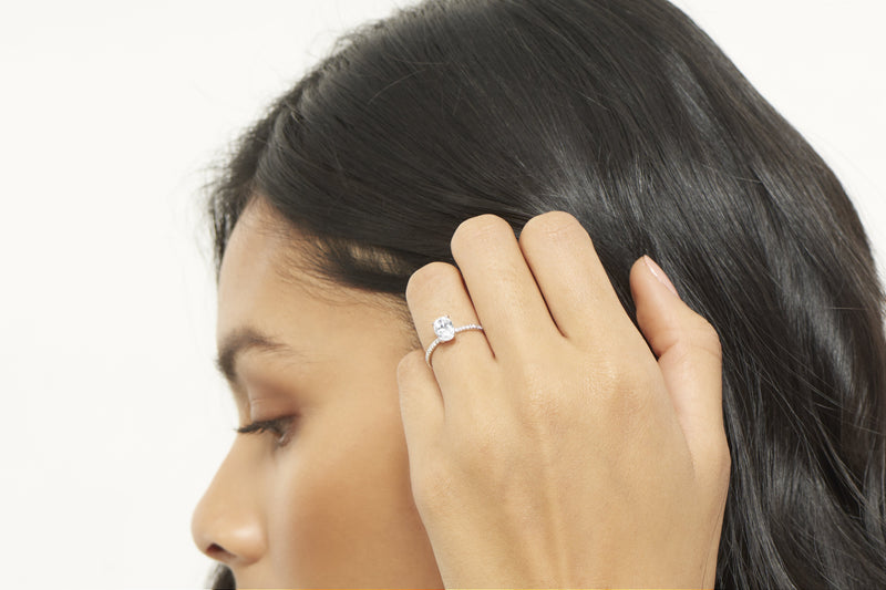 Lexington VOW by Ring Concierge oval micropave engagement ring with hidden halo in platinum. 33281433567320