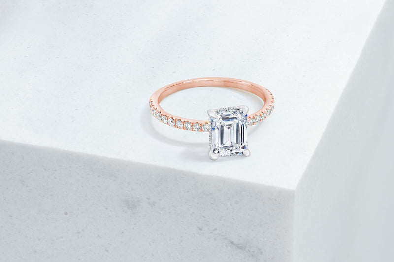 Lexington VOW by Ring Concierge emerald micropave engagement ring with hidden halo in rose gold. 33281433895000