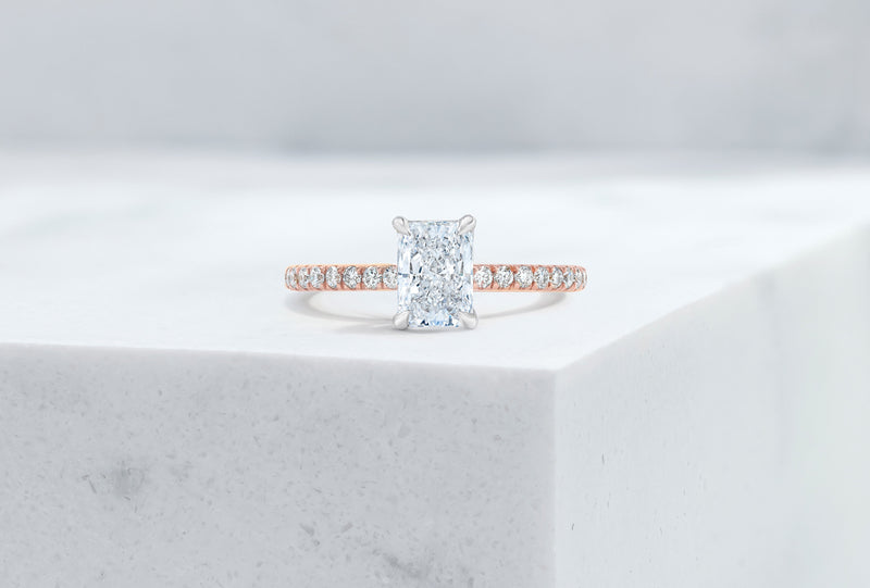 Lexington VOW by Ring Concierge radiant micropave engagement ring with hidden halo in rose gold.33281434091608