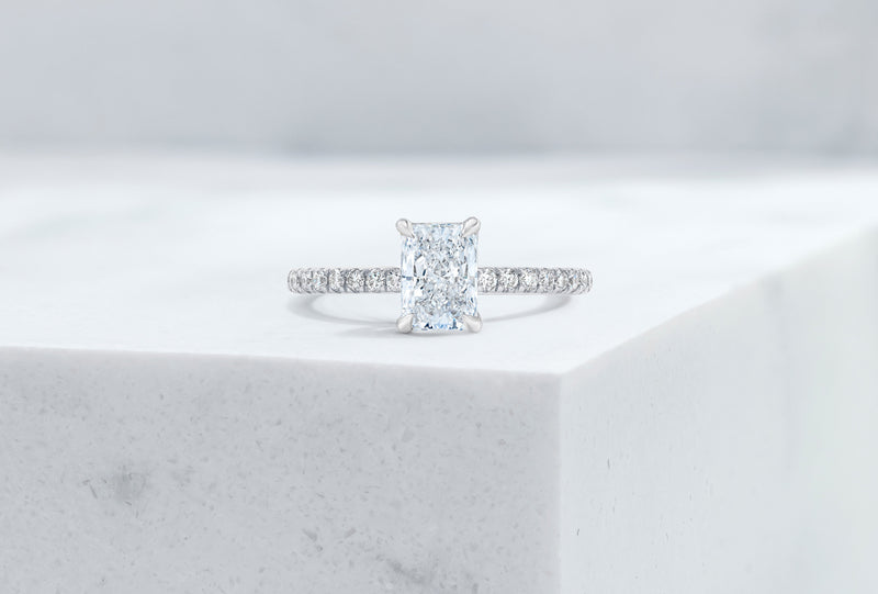 Lexington VOW by Ring Concierge radiant micropave engagement ring with hidden halo in platinum .33281434157144