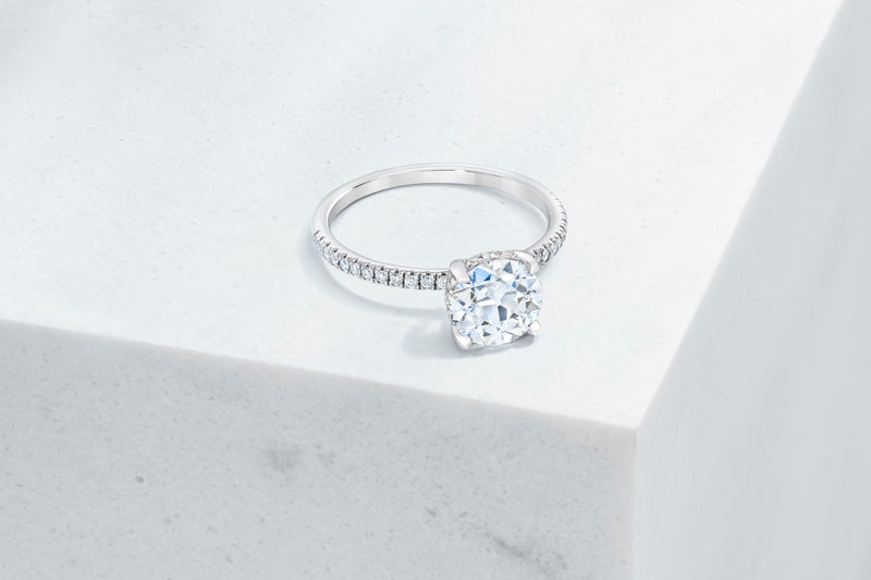Lexington VOW by Ring Concierge antique-style round micropave engagement ring with hidden halo in  platinum. 33281434550360