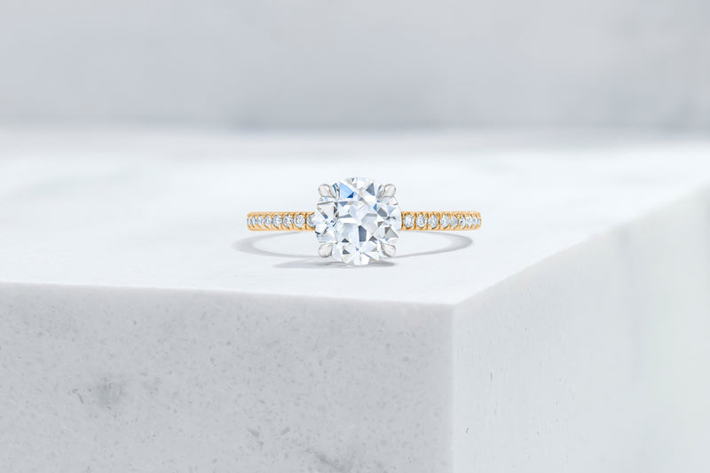 Lexington VOW by Ring Concierge antique-style round micropave engagement ring with hidden halo in  yellow gold. 33281434419288