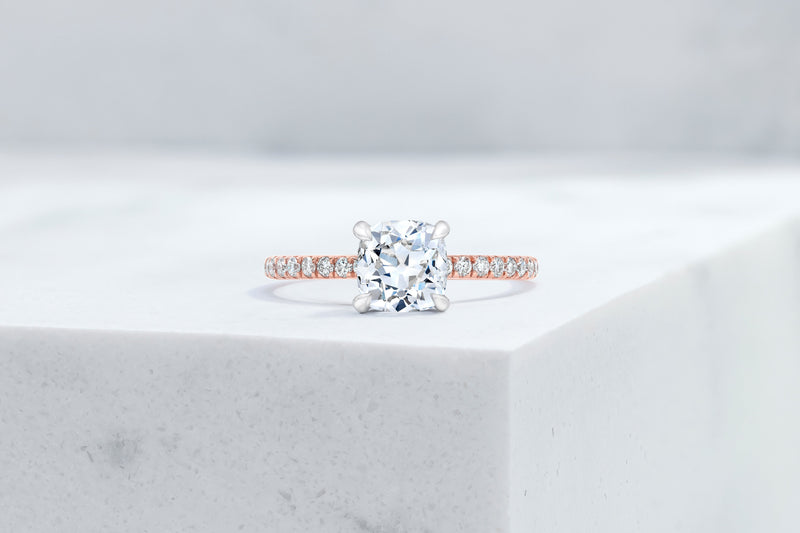 Lexington VOW by Ring Concierge antique-style cushion micropave engagement ring with hidden halo in rose gold. 33281434681432